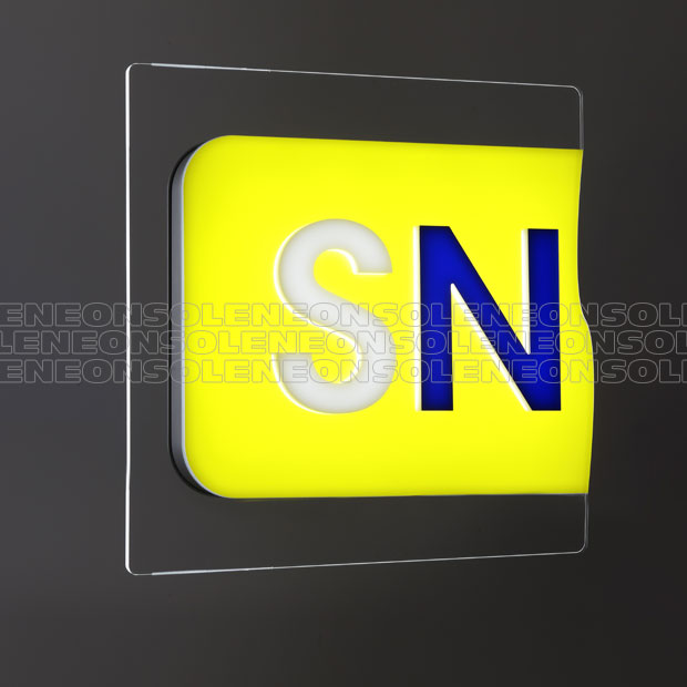 Illuminated signs on glass with illuminated background and letters in relief
